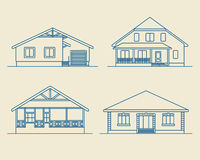 Houses linear1 Royalty Free Stock Photo