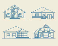 Houses linear 3 Royalty Free Stock Images