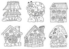 Houses linework. Hand drawing set for stikers or print vector illustration