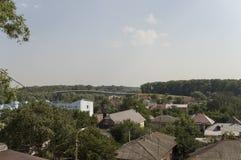 houses litet Beskåda uppifrån av de Boldin bergen, Chernigov, Ukraina Juli 15, 2017 Arkivfoton
