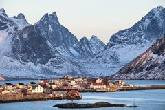 Houses in the Lofoten islands bay. royalty free stock image