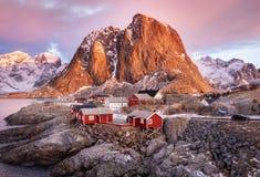 Houses in the Lofoten islands bay. stock photo