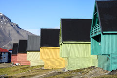 Houses in Longyearbyen. Colorful wooden houses in Longyearbyen, Svalbard Royalty Free Stock Photography