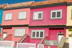 Houses with a lot of colors in town Stock Images