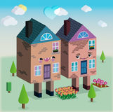 Houses in love vector 3D graphic Stock Images