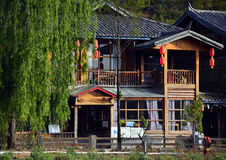 The houses of Lugu Lake royalty free stock photography