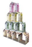 Houses made of euro paper money Royalty Free Stock Image