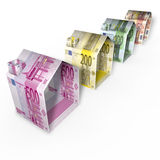 Houses made of euro paper money Royalty Free Stock Photos