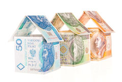 Houses made of money Stock Photo
