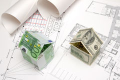 Houses Made Of Banknotes Stock Images