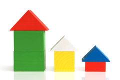 Houses made from wooden building blocks royalty free stock image