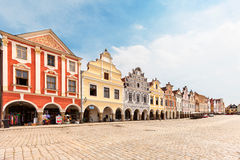 Houses on main square in Telc, Czech Republic. TELC, CZECH REPUBLIC - MAY 10, 2013: Unesco city. A row of the houses on main square Royalty Free Stock Photography