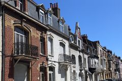 Houses in Malo les Bains in Dunkirk, France. Facades of historical houses in a street in Malo les Bains in Dunkirk, France Royalty Free Stock Image