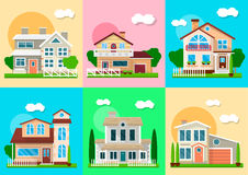 Houses, mansions and villa cottages real estate vector objects. Houses, mansions and villa cottages. Vector residence and real estate buildings objects with Stock Images