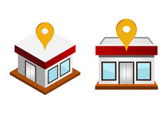 Houses with map pin Royalty Free Stock Images
