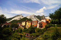 Houses In The Marble Mountains. A small village in the mountain marbles of Carrara, Italy Royalty Free Stock Image