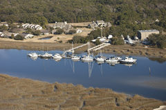 Houses and marina aerial Stock Image