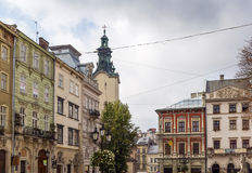 Houses on a market square in Lviv Royalty Free Stock Photo
