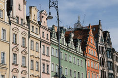 Houses on market square Rynek in Wroclaw, Poland Stock Images