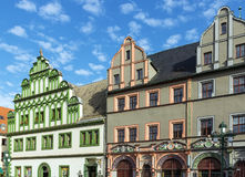 Houses on a market square in Weimar, Germany Stock Image
