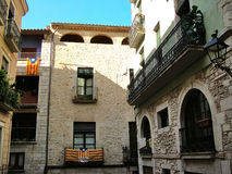 Houses in the medieval part of the Girona Stock Images