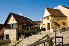 Houses in medieval rural town Stock Image