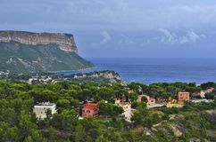 Houses and Mediterranean pine trees Cassis France royalty free stock photography