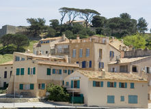 Houses in a mediterranean scenery Stock Photos