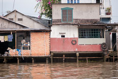 Houses on the Meekong Delta Vietnam Royalty Free Stock Photo