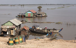 Houses on the Mekong river Stock Images