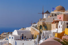 Houses and mills in Oia. On Santorini Royalty Free Stock Photos