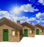 Houses model 3d and sky Royalty Free Stock Photography