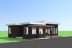 Houses. Modern style single storey house stock illustration