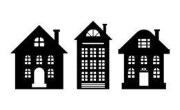 Houses Monochrome Silhouette Multi Storey Building. Houses monochrome silhouettes, multi storey buildings isolated on white. Windows and chimney, home dwelling stock illustration
