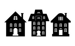 Houses Monochrome Silhouette Multi Storey Building. Houses monochrome silhouettes, multi storey buildings isolated on white. Windows and chimney, home dwelling vector illustration