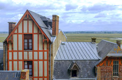 Houses of Mont Saint Michel Stock Images