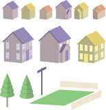 Houses and more. Houses,fences,grass,tree,bush and post illustrations - make your own village Stock Images