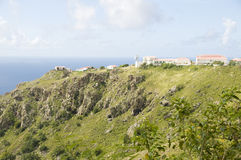 houses mountain Caribbean Sea Saba Dutch N Stock Photos
