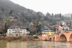 The houses on the mountain near the old bridge in Heidelberg Royalty Free Stock Photography