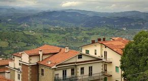 Houses and mountain in San Marino Royalty Free Stock Photo