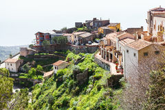 Houses in mountain village Savoca in Sicily Royalty Free Stock Images