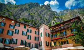 Houses and mountains in Limone sul Garda royalty free stock photography