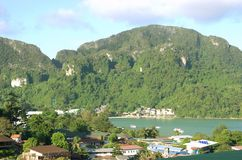 Houses and mountains in Thailand Stock Photos