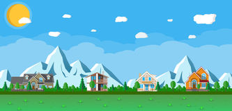 Houses in the mountains among the trees vector illustration