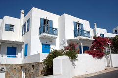 Houses on Mykonos. Typical mediterranean houses on the Greek island of Mykonos Royalty Free Stock Photo