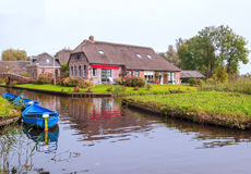 Houses near a canal Stock Photography