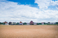 Houses near the field at summer midday Royalty Free Stock Photography