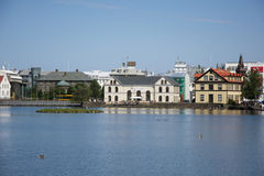 Houses near the lake in the center of Reykjavik, Iceland Stock Images