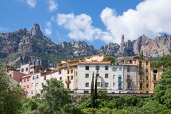 Houses near the mountains of Montserrat, Spain Royalty Free Stock Image