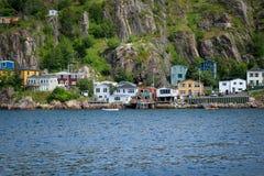 Houses of Newfoundland,Canada. Hillside colourful houses of St. John`s, Newfoundland royalty free stock images